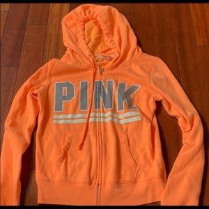 Pink Victoria's Secret Orange Logo Zip Up XS